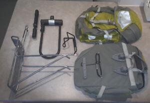 2x MEC Pannier bike bags, plus bike rack, plus other stuff