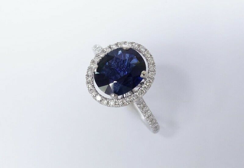 2-CARAT BLUE SAPPHIRE DIAMOND RING IN 18K SOLID WHITE GOLD - CERTIFIED