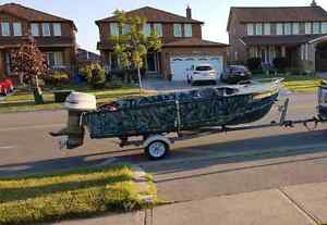 16' Wide Aluminum Boat with Trailer and 85HP