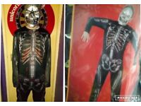BRAND NEW MENS SKELETON HALOWEEN COSTUME FULL SUIT AND MASK (size M-L) 2 AVAILABLE