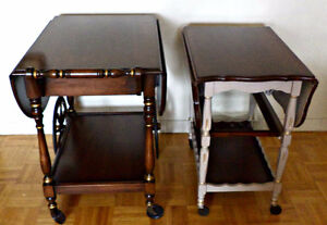 Two Antique Tea Wagons/Carts, refinished (delivery)