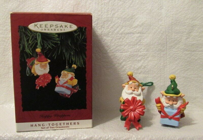 Vintage Hallmark Ornaments Happy Wrappers 1995 Hang Togethers Santa Elves