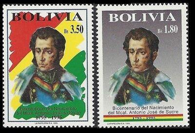 BOLIVIA. General Antonio Jose de Sucre. 1995 Scott 930-931. MNH   (BI#1)