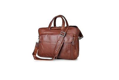 Texbo Cowhide Leather Professional Briefcase Messenger Bag Fit 15.6