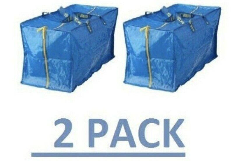 2 IKEA FRAKTA Extra Large Zippered Storage Bag Travel Laundr