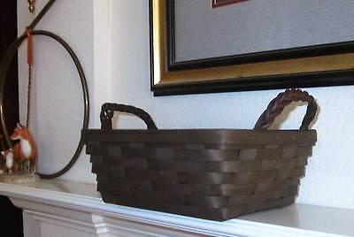 Longaberger Small Serving Basket w/ Paprika Liner + Prot.  -  Deep Brown - New!