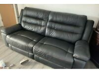 Leather couch with reclining chair