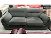 Charcoal grey and black 3 seater sofa