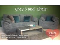 NEW Grey Cord 3 Seater Sofa and Armchair, Can Deliver