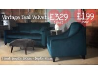NEW Vintage Teal Velvet 3 Seater Sofa and Chair, Can Deliver