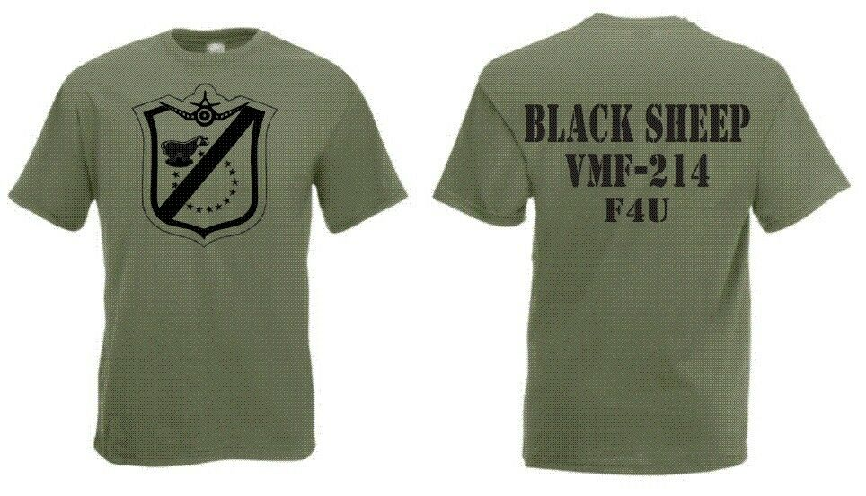 US Marines Blacksheep VMF-214 F4U T-Shirt S-XXL WK2 USMC Pacific Pappy Boyington
