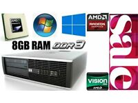 8GB Ram DDR3, HP PC Desktop, AMD 3.0GHz, 250GB HD, Minecraft