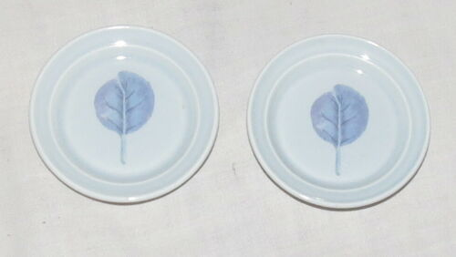 Butter Pats Pair 2.7 inches Portmerion Seasons Leaves Blue Leaves & Background