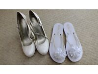 Ivory Wedding Shoes Size 7 with honeymoon sandals size 7-8 (EUR 40-41)