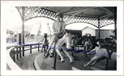1920s Woman Rides Carousel Merry-Go-Round Horse Side-Saddle Amusement Park Photo