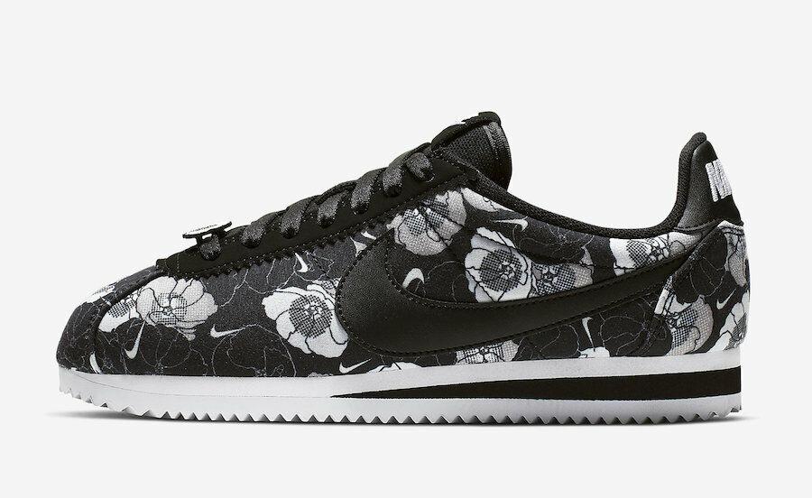 New Nike Women's Classic Cortez LX FLORAL Shoes (AV1338-001)  Black/Black-White