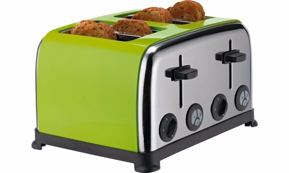 Colour Match Stainless Steel 4 Slice Toaster -
