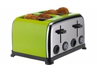 Colour Match Stainless Steel 4 Slice Toaster - Apple Green new