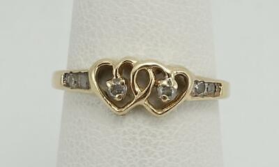 Gold Double Heart Ring - 10K yellow gold ladies girl sz 4.75 double heart ring w/ diamonds 1.1g