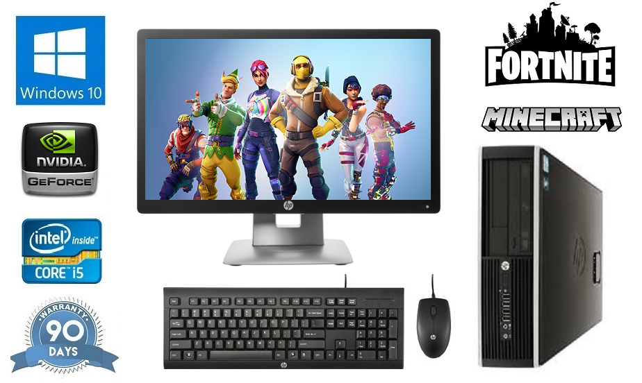 "Computer Games - Fast Quad Core i5 Gaming PC + 22"" Monitor 8Gb RAM 1Tb HDD Fortnite Computer PC"