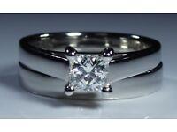 IGI Certified Platinum 0.52ct Diamond Princess Solitaire Engagement Ring Bridal Set David M Robinson