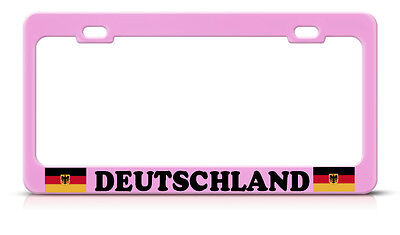 Deutschland German Flag Steel Soft Pink License Plate Frame Tag Border