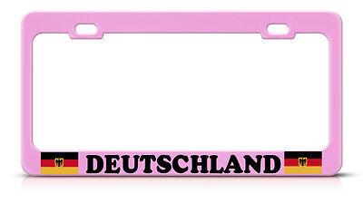 Deutschland German Flag Steel Soft Pink License Plate Frame Tag Border