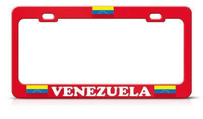 Venezuela Flag Heavy Duty Steel Red License Plate Frame Tag Border