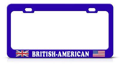 British American Blue Metal Steel License Plate Frame Tag Border