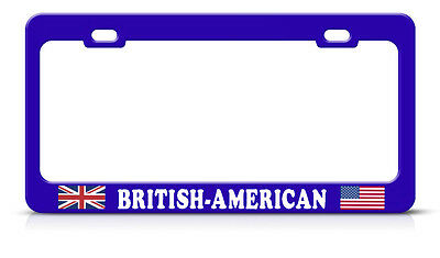 British American Blue Metal Steel License Plate Frame Tag Border