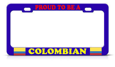 Colombia Colombian Proud To Be Blue License Plate Frame Tag Border