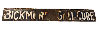 Antique Porcelain BICKMORE'S GALL CURE Horse Remedy Sign, Blue & White, Early