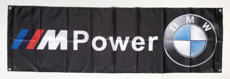 Bmw M Power Flag Banner Black 1.5X5ft/2x8ftAdvertising Cave Racing Polyester/#90