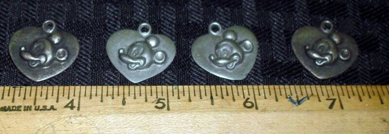 VINTAGE PEWTER?/SILVER? MICKEY MOUSE HEART SHAPED CHARM LOT (4) NICE CONDITION M