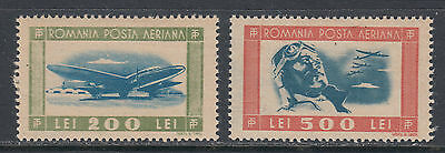 Romania C24-C25 VF LH 1946 Airmail Set of Two Stamps Aviator and Planes