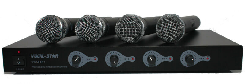 Vocal-Star 4 UHF Wireless Cordless Microphones System Ideal for DJ Karaoke PA