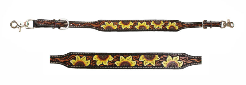 Challenger Western Tack Sunflower Tooled Leather Wither Breast Collar Strap