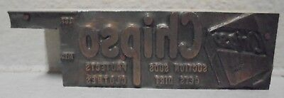Chipso Suction Suds Metal Wood Letterpress Printing Block Type Cut