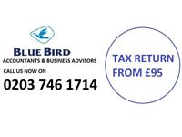 Tax Return from £95, Self Assessment, CIS Rebates,Tax Refund, VAT, Payroll, Accountant, Bookkeeping