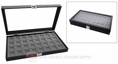 Glass Top Jewelry Organizer Display Case 32 Compartment Gray Insert Travel