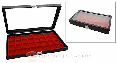 Display Case Glass Top Jewelry Organizer 32 Compartment Red Insert Travel