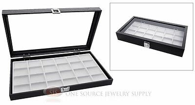 Glass Top Jewelry Organizer Display Case 24 Compartment White Insert Travel