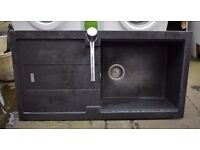 USED RESIN GRAPHITE GREY 5 YEAR OLD SINGKLE BOWL KITCHEN SINK