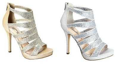 Strappy Glitter Stiletto Sandal Platform Heels Bootie Bridal Wedding Strappy Platform Heels