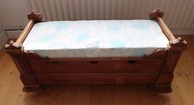 Antique baby cot bed and mattress / or / upcycled as shoe ottoman bench