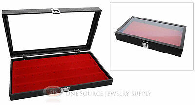Glass Top Jewelry Organizer Display Case 24 Pair Earring Red Insert Travel