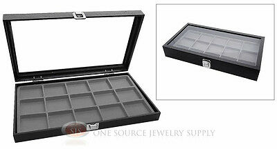 Glass Top Jewelry Organizer Display Case 15 Compartment Gray Insert Travel