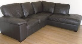 Brown Leather L-shaped Sofa from Cargo – Excellent condition – reduced again £180