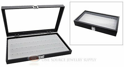 Glass Top Jewelry Organizer Display Case 24 Pair Earring White Insert Travel