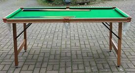 Riley ¼ size slate-topped snooker table with folding legs, VGC.